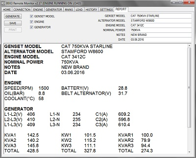 AMF controller power generator test report