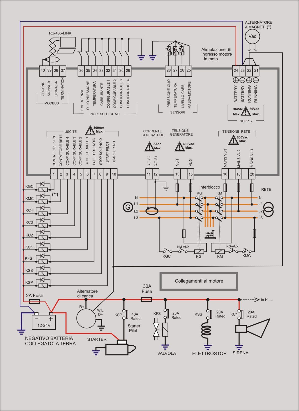 centralina gruppo elettrogneo be42 collegamenti