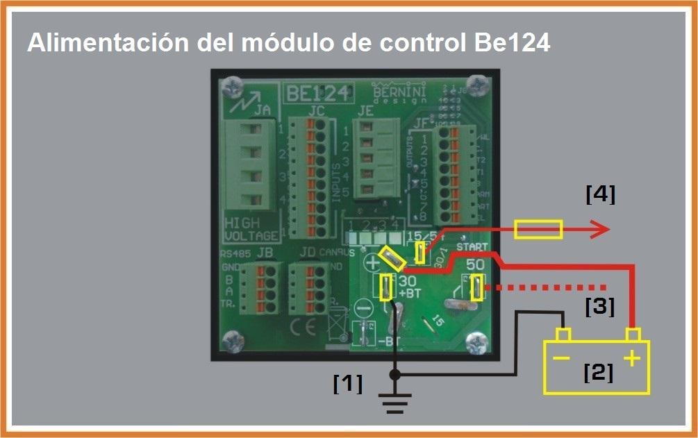 Alimentación del módulo de control de arranque automatico Be124