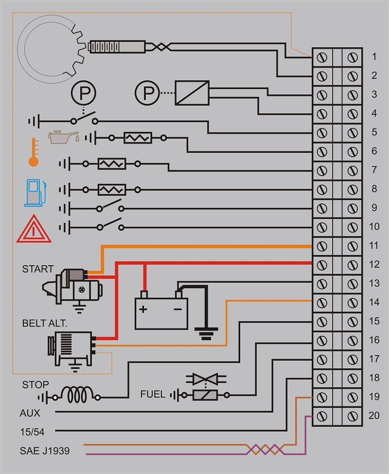 GSM based engine control wiring diagram